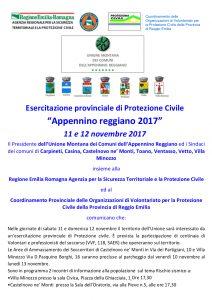 """Esercitazione provinciale di Protezione Civile """"Appennino reggiano 2017"""" 11 e 12 novembre 2017"""